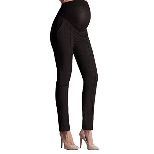 RIUDA Elastic Stomach Lift Pregnant Belly Protection Maternity Leggings Pants Trousers Pencil Pants Black