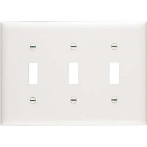 Legrand - Pass & Seymour SP3WU Wall Plate Plastic Three Gang Three Toggle without Line, White ()