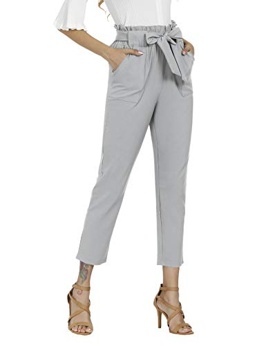 Aprance Pants for Women Casual Trouser Paper Bag Pants Elastic High Waist with Pockets CK_XGR_XL Light Gray