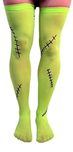 Green Frankenstein Monster Thigh-High Halloween Tights Costume Accessory]()