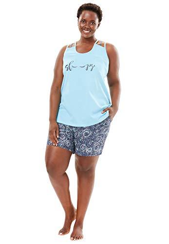 (Dreams & Co. Women's Plus Size Racerback Cami Shorty Pj Set - Powder Turq Summer, 14/16)