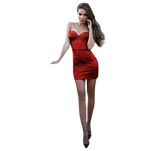 Caopixx Womens Summer Sleeveless Sexy Backless Bodycon Pencil Slit Mini Party Club Dress Red -