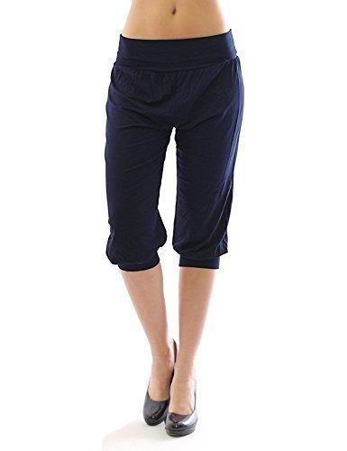Harem Harems Aladin Pantalon POMPE CAPRI 3/4 haute couleur Leggings Baggy été - bleu foncé, XXL