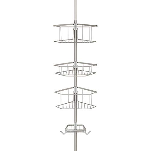 Richards Homewares Laguna Bathtub Shower Tension Corner Pole Caddy - Satin Nickel Stylish Design with 4 Stainless Steel Baskets - Easy Assembly - Extendable To 108