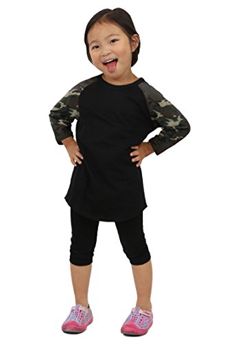 Hat and Beyond Kids Raglan T Shirts 3/4 Baseball Sleeves Baby (S (5-6Yrs 6T), (Camouflage Baby Tee)