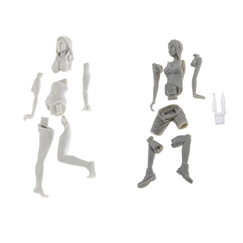 Fityle 1/24 (75mm)+1/20 Glamour Girl Figure Resin Model Unassemble Ornaments Xmas Gift