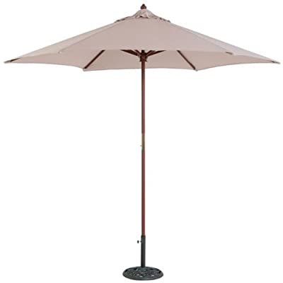 Tropishade 9 ft Teak Finish Light Wood Market Umbrella with Beige Polyester Cover -  - shades-parasols, patio-furniture, patio - 31cpaFnFjkL. SS400  -