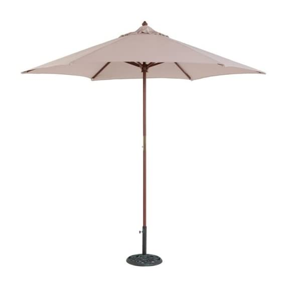 Tropishade 9 ft Teak Finish Light Wood Market Umbrella with Beige Polyester Cover -  - shades-parasols, patio-furniture, patio - 31cpaFnFjkL. SS570  -