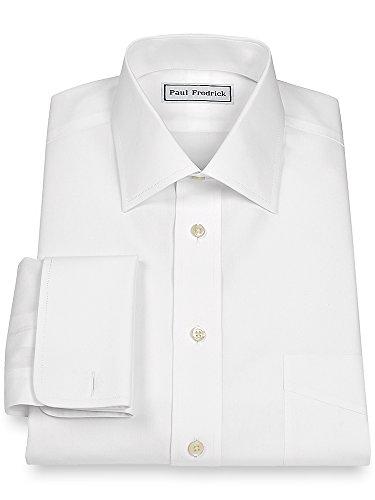 Paul Fredrick Men's Non-Iron 2-Ply Cotton Windsor Spread Collar Dress Shirt White 19.0/35 (Dress Iron Two Non Ply Cotton Shirt)