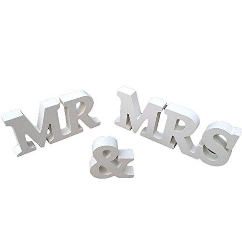 ocamo blanco Mr y Mrs letras cartel de madera mesa de pie Prop Decoración de la boda suministro, Woody