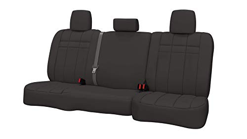 (Rear SEAT: ShearComfort Custom Neoprene-Style Seat Covers for Chevy Silverado (2015-2018) in Solid Charcoal for 60/40 Split Back and Bottom w/Pullout Arm and Adjustable Headrests (Crew)