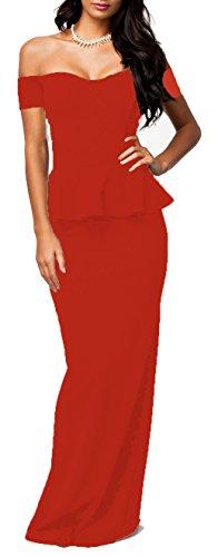 made2envy Drop Shoulder Peplum Maxi Evening Dress (L, Red) C6244RL (Evening Back Gown)