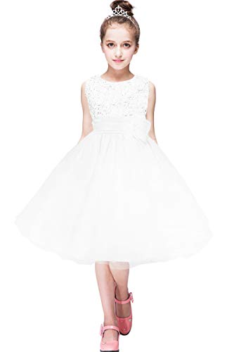 (YMING Girls Party Sequin Dress Sleeveless Flower Dress Tutu Maxi Dress White 8-9)