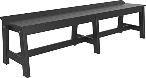 LuxCraft Café Poly Dining Bench, Recycled Plastic Outdoor Backless Bench 72″ (Earthtone – Black)