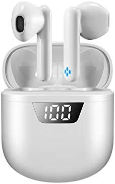 YYJY Wireless Earbuds Bluetooth 5.2 Noise Reduction Touch Control in-Ear Earphones IPX7 Waterproof/24 Hours Playtime /Gym for iPhone/Android/Airpods-White