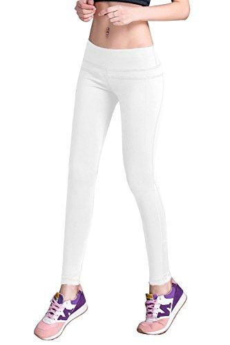 (DIAMONDKIT Women's Inner Pocket Non See-Through Leggings Full Length Yoga Pants (L, 1037 Royal))