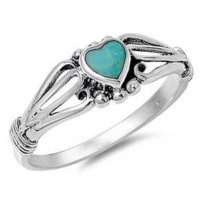 925 Sterling Silver Heart Simulated Turquoise 7MM Belle Epoque Ring Size 10