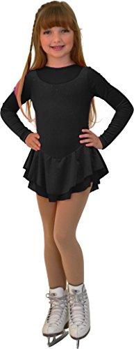 Chloe Noel Figure Skating Velvet WMesh 2 layers Dress ® DLV84 Sparkle Black Child Large