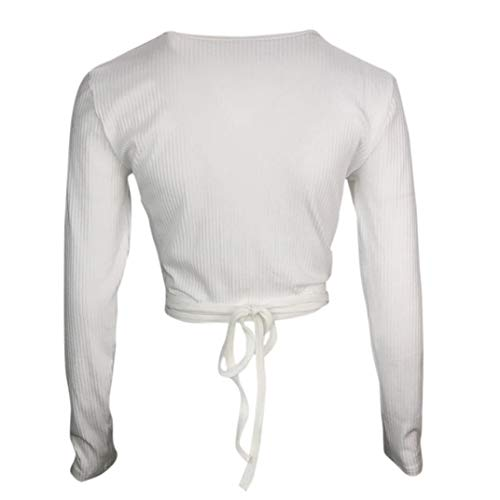 Blouse Blanc Courte Manches Col T Femmes Solide Shirt Crop V Sexy Solide Tops Chemise Bandage Innerternet Longues Fqawp7Awx