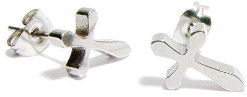 Curved Barbell Illusion Earrings (7MM Silver Cross Stud Earrings, Anodized 316L Stainless Steel Posts, Semi-Matte Finish Silver Grey Stud Earrings, Anodized 316L Stainless Steel)