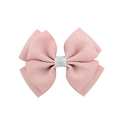 Big Handmade with Silver Band Ribbon Bows Hairclips Barrettes Girls Kids Hair Hairpins Women Hair Clips(16 Dark Pink,-)