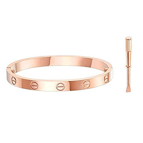 Rose Gold Bracelets for Women Couples,Screw Bracelet,Titanium Steel Bracelet,Buckle Bangle Bracelet with Screwdriver for Girls Boys Valentines Wedding