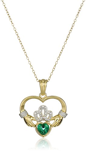 18k Yellow Gold Plated Sterling Silver Created Emerald and Diamond Accent Claddagh Pendant Necklace, 18