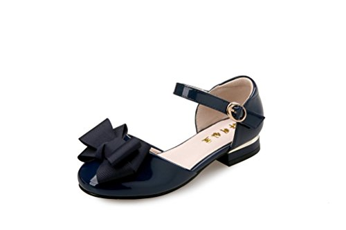 Flyrioc Little Girl's Heel Sandals Ballet Dress Shoes(Little Kid/Big Kid) Navy 11 M US Little Kid -