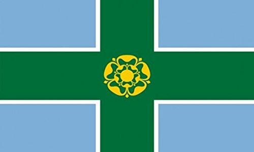 Derbyshire Flag 5ft x 3ft Large - 100% Polyester - Metal Eyelets - Double Stitched Perfectflags