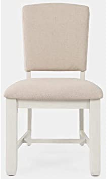 Amazon Com Jofran Dana Point Upholstered Dining Chair Set Vintage White Beige Fabric Chairs