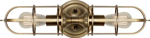 (Feiss WB1704DAB Urban Renewal Industrial Vintage Wall Sconce Lighting, Brass, 2-Light (6