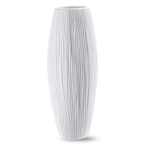 (D'vine Dev Tall White Ceramic Vase for Flowers 11 Inches- Waterfall Textured Elegant Design)