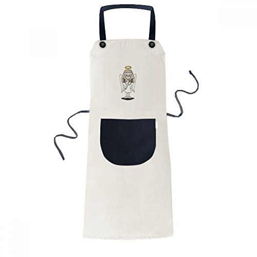cold master DIY lab Angel Bastet Wing Halo Star Cooking Kitchen Beige Adjustable Bib Apron Pocket Women Men Chef -