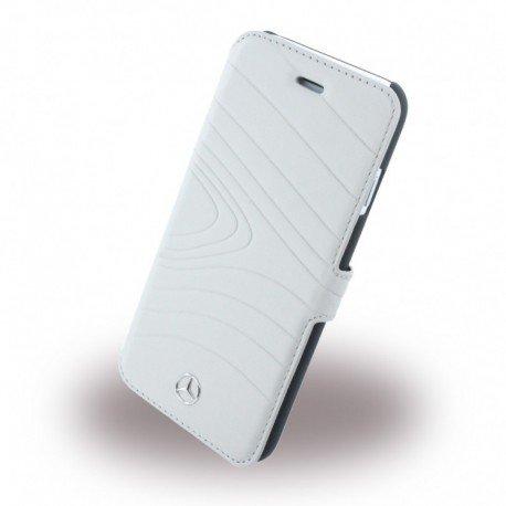 Mercedes MEFLBKP6OLGR Organic Echtleder Booktype Fall Schutzhülle für Apple iPhone 6/6S kristall grau
