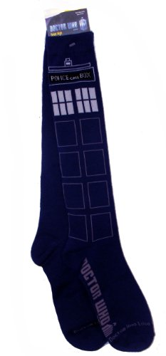 Shoes Costume Doctor 10th (Doctor Who Tardis Knee Call Box High Socks, size)