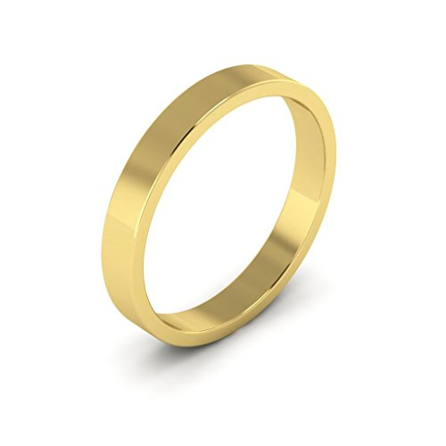 18K Yellow Gold men's and women's plain wedding bands 3mm flat, 5