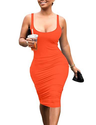 Mokoru Women's Casual Basic Pencil Tank Dress Sexy Sleeveless Bodycon Midi Club Dress, Large, Orange ()