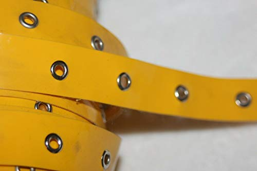 Yard Bright Yellow Patent Leather Silver Metal Eyelet Grommet Trim 3/4 Wide - Trims Variety of Colors, Styles and Materials ()
