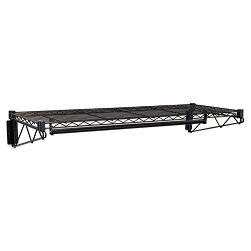 - Alera WS4818BL Steel Wire Wall Shelf Rack, 48w x 18-1/2d x 7-1/2h, Black