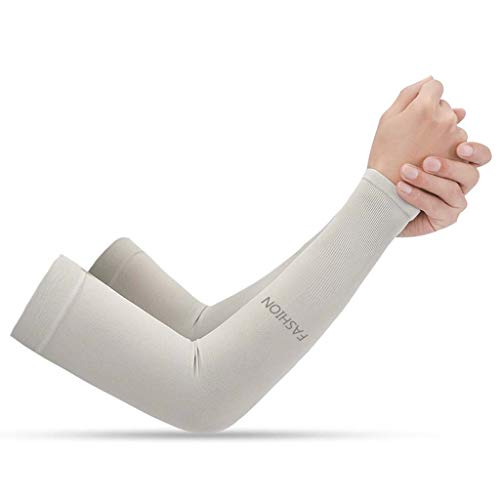 - SLEEVE Arm, Fast Drying UV Protection, Unisex Sports Running Cycling Arm White (Color : Gray)