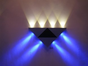 Cmyk® Modern 8w (8*1w) Black White Triangle Designed LED Wall Sconce Lighting for Bedroom, Porch, Bathroom (Warm White and Blue)
