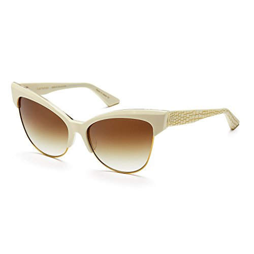 Dita Temptation Sunglasses 22029C Cream 18K Gold / Brown to Clear Gold Flash - Sunglasses Cat Eye Dita