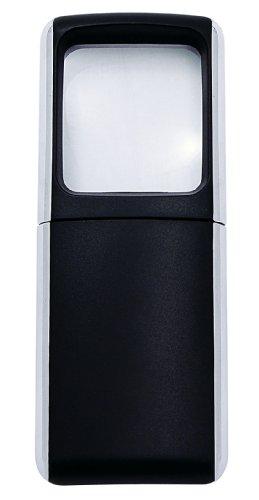 Lupe eckig mit LED Beleuchtung inklusiv Batterien, schwarz