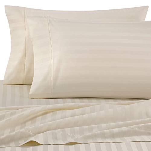 Ivory Damask Stripe - Wamsutta Damask Stripe 500-Thread-Count PimaCott King Pillowcases (Set of 2) (Ivory)