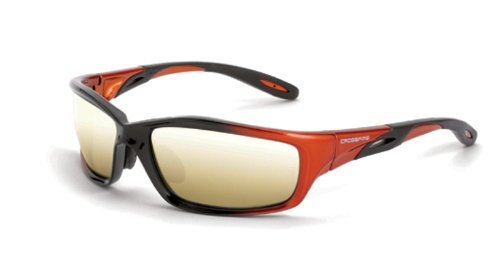 Crossfire Safety Glasses Infinity, Gold Mirror Lens, Orange/