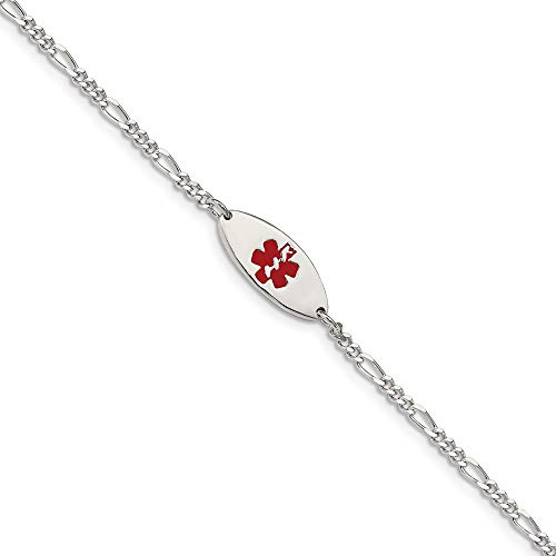925 Sterling Silver Enameled Medical Alert Jewelry Bracelet 7 Inch Id Fine Jewelry Gifts For Women For Her