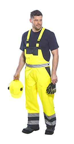 3 Dungarees (Portwest Contrast Bib & Brace Lined Overall Coverall Dungarees Work Trousers ANSI E, 3 XL Yellow)