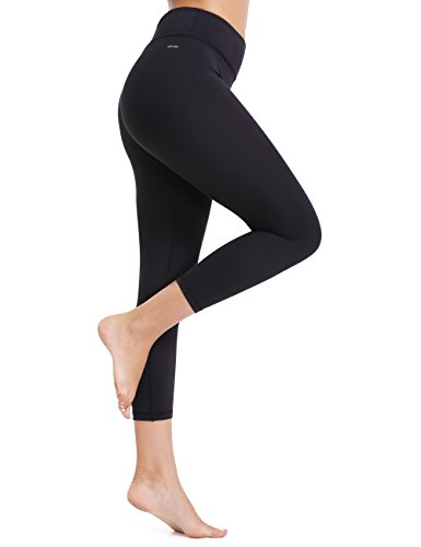 XTUPO Women's Yoga Capris Pants High Waist Tummy Control Workout Capris Leggings 4 Way Stretch Tights,Quick Dry Exercise Running Sports Gym Athletic Fitness Active Pilates with Inner Pockets Black S