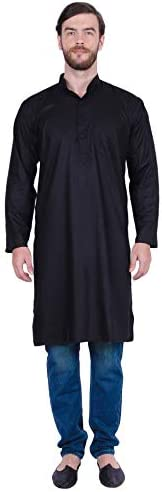 Maple Clothing Men's Cotton Long Kurta Solid Color Indian Traditional Clo