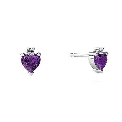 14kt White Gold Amethyst and Diamond 4mm Heart Stud Earrings